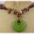 GREEN MOSAIC TURQUOISE AGATE MOOKITE NECKLACE