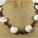 WHITE TURQUOISE BROWN CORAL CRYSTAL NECKLACE