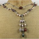 FANCY JASPER RUTILATED QUARTZ FRESH WATER PEARLS 2ROW NECKLACE