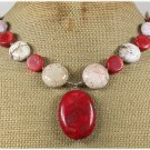 RED CORAL& WHITE TURQUOISE NECKLACE