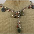 FANCY JASPER CANDY JADE RED AGATE FRESH WATER PEARLS NECKLACE