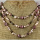 ROSE QUARTZ TOURMALINE PINK JASPER PEARL 3ROW NECKLACE