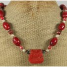 RED CORAL JASPER LAMPWORK PEARLS NECKLACE