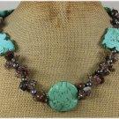 TURQUOISE TOURMALINE JASPER PEARLS NECKLACE