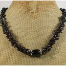 BLACK AGATE CRYSTAL GARNET NECKLACE