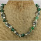 GREEN AGATE & FRESH WATER PEARLS NECKLACE