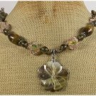 ABALONE FLOWER TIGER EYE LAMPWORK CRYSTAL NECKLACE