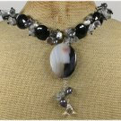 BLACK BRAZILIAN AGATE QUARTZ CRYSTAL PEARLS NECKLACE
