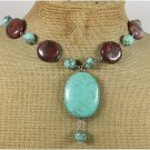 TURQUOISE & RED BROWN PICTURE JASPER NECKLACE