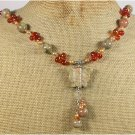 AUTUMN JASPER BUTTERFLY RED AGATE PEARLS NECKLACE