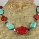 TURQUOISE RED CORAL FRESH WATER PEARLS NECKLACE