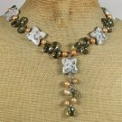 KIWI SESAME JASPER SMOKY CRYSTAL PEARLS NECKLACE