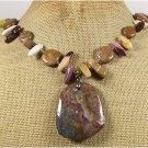 FANCY JASPER MOOKITE BROWN AGATE NECKLACE
