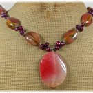 PINK FIRE AGATE TIGER QUARTZ FRESH WATER PEARLS NECKLACE