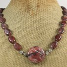 NATURAL RED BROWN PICTURE JASPER NECKLACE
