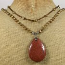 GOLDSTONE & FRESH WATER PEARLS 2ROW NECKLACE