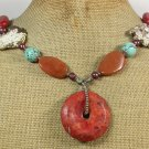 CORAL AGATE HONEY JADE TURQUOISE PEARLS NECKLACE