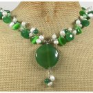 GREEN AGATE JADE CAT EYE FRESH WATER PEARLS NECKLACE