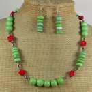 GREEN TURQUOISE RED CORAL NECKLACE/EARRINGS SET