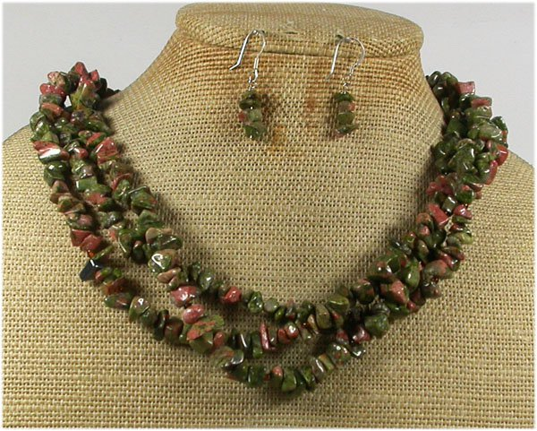 NATURAL UNAKITE 3ROW NECKLACE/EARRINGS SET