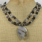 BLACK FIRE AGATE RUTILATED QUARTZ 2ROW NECKLACE
