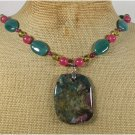 CHUNKY FANCY JASPER GREEN AGATE RED JADE NECKLACE