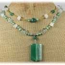 GREEN AGATE AQUA QUARTZ WHITE JADE 2ROW NECKLACE