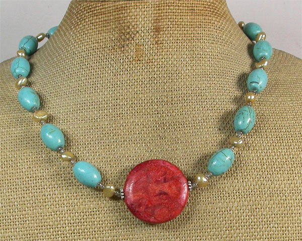 RED CORAL TURQUOISE FRESH WATER PEARLS NECKLACE