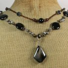 BLACK AGATE CRYSTAL FRESH WATER PEARLS 2ROW NECKLACE