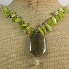 OLIVE FIRE AGATE JADE FRESH WATER PEARLS NECKLACE