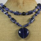 TANZANITE QUARTZ SODALITE BLUE JADE GOLDSTONE 2ROW NECKLACE