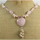 ROSE QUARTZ PINK CRYSTAL FRESH WATER PEARLS NECKLACE