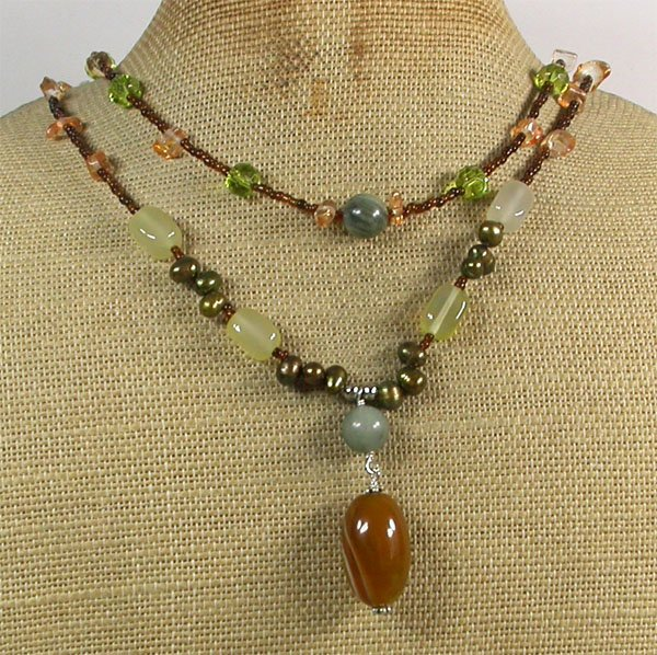 YELLOW AGATE CRYSTAL QUARTZ PEARLS 2ROW NECKLACE
