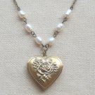 FLORAL LOCKET FRESH WATER PEARLS NECKLACE