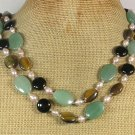 GREEN JADE TIGER EYE BLACK AGATE PEARLS 2ROW NECKLACE