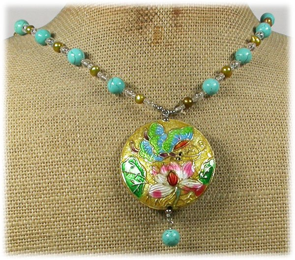 FLOWER CLOISONNE TURQUOISE FW PEARLS NECKLACE