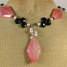 CHERRY FIRE AGATE BLACK CRYSTAL FRESH WATER PEARLS NECKLACE