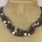 Garnet fresh Water Pearls 3row Necklace