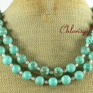 GREEN TURQUOISE and FW PEARL 2ROW NECKLACE
