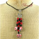 RED TURQUOISE CORAL BLACK AGATE LEATHER CORD NECKLACE