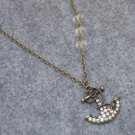 RHINESTONE ANCHOR & CLEAR CRYSTAL NECKLACE