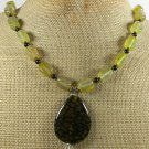 HANDMADE FIRE AGATE & YELLOW BLACK AGATE NECKLACE