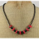 HANDMADE RED CORAL & BLACK AGATE NECKLACE