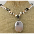 HANDMADE BRAZILIAN AGATE & FRESH WATER PEARLS NECKLACE