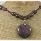 HANDMADE BACCIATED JASPER & PINK JADE NECKLACE