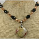 HANDMADE MUGER JASPER BLACK AGATE FRESH WATER PEARLS NECKLACE