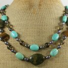 TURQUOISE TIGER EYE RHYOLITE CRYSTAL 2ROW NECKLACE