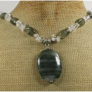 Handmade GREEN RUTILATED JASPER & CLEAR QUARTZ NECKLACE