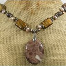 Handmade BROWN POPPY JASPER TIGER EYE FW PEARLS NECKLACE