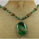 Handmade GREEN BRAZILIAN AGATE CAT EYE FW PEARLS NECKLACE